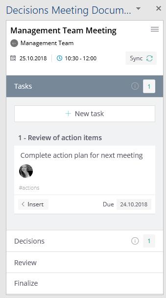 Sync Task and Decision Sidebar