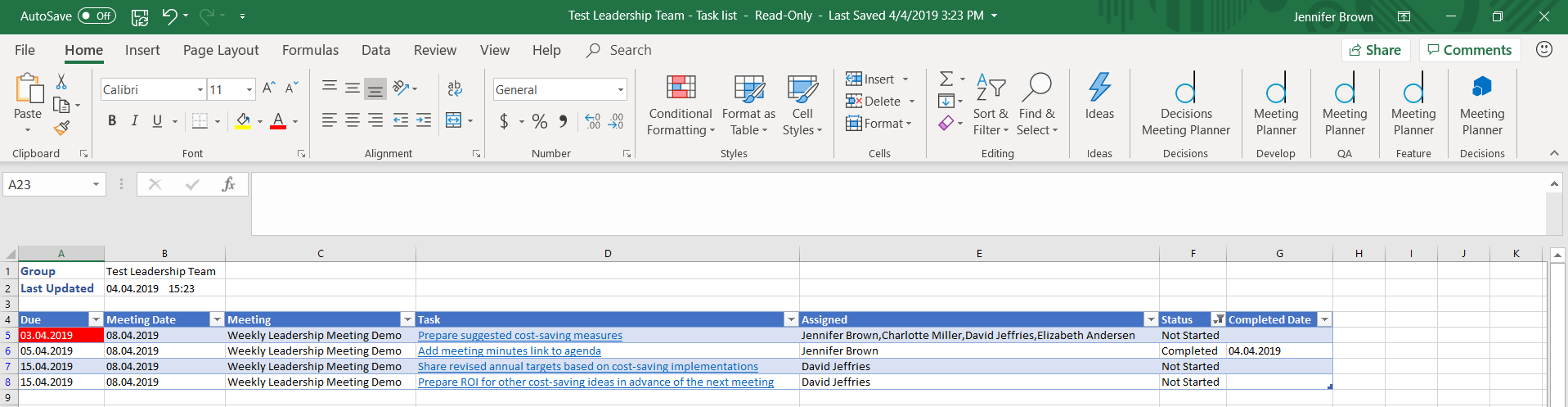 excel screen