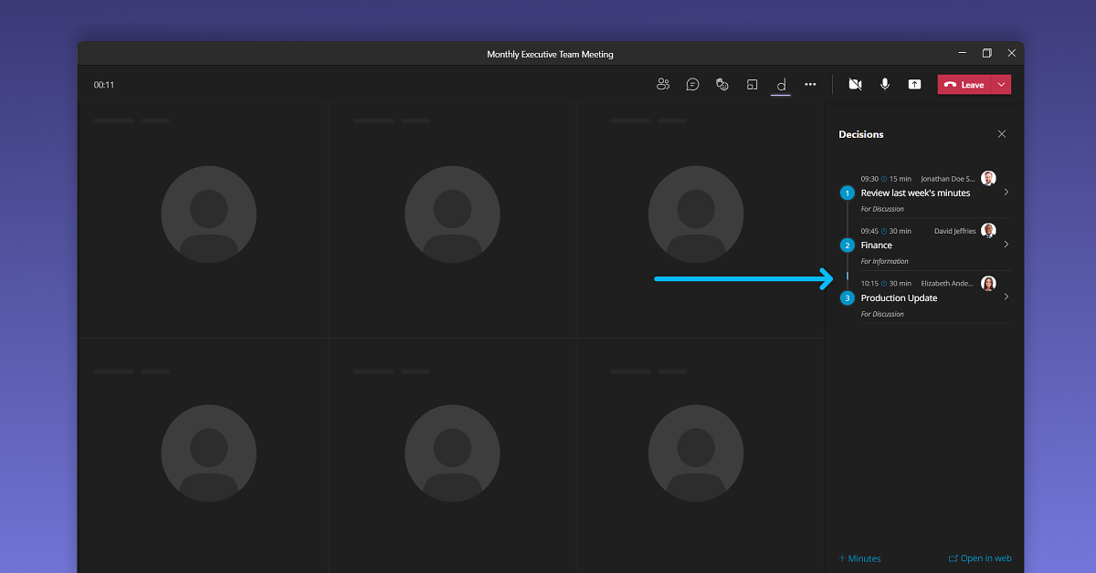 Decisions and Microsoft Teams keep meetings on track and on time